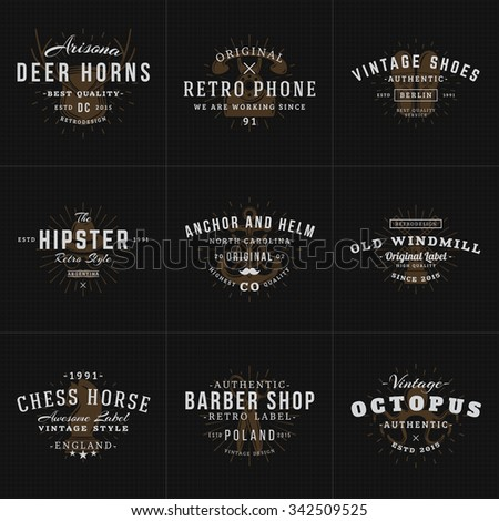 Set of Hipster Vintage Labels, Logotypes, Badges for Your Business. Horns, Retro Phone, Shoes, Anchor, Windmill, Barber, Chess. Vector Illustration on Dark Textured Background