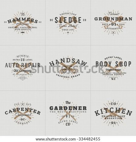 set of hipster vintage labels ...