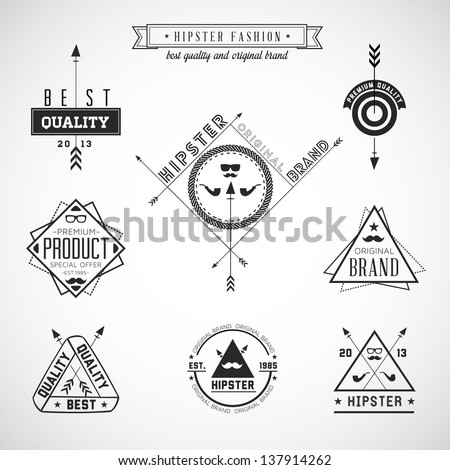 Set of hipster vintage retro labels - EPS10 Compatibility Required