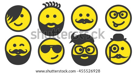 Set of hipster yellow smiley faces icons, emoticons, emoji isolated on white background, persons with stylish haircuts, modern beards and mustaches, men wearing glasses, vector illustration