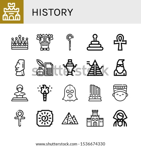Set of history icons. Such as Fortress, Crown, Armor, Sceptre, Pyramid, Ankh, Moai, Quill, Samovar, Executioner, Statue, Torch, Column, Nefertiti, Cave painting , history icons