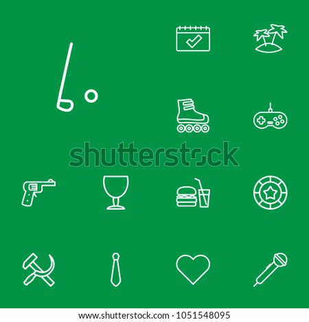 set of 13 hobby icons line