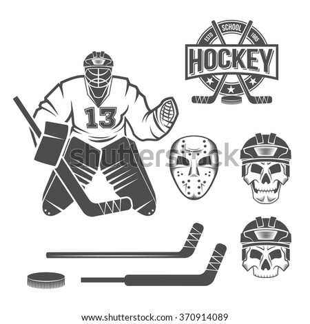 set of hockey elements puck
