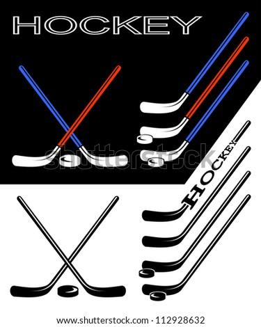 set of hockey sticks on black