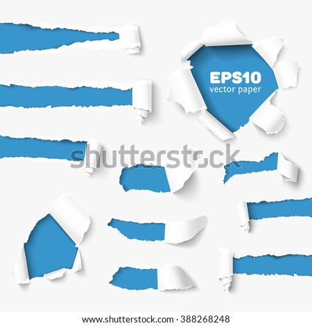 Set of holes in white paper with torn sides over paper background with space for text. Realistic vector torn paper with ripped edges. Torn side set of banners for web and print. Torn paper template.