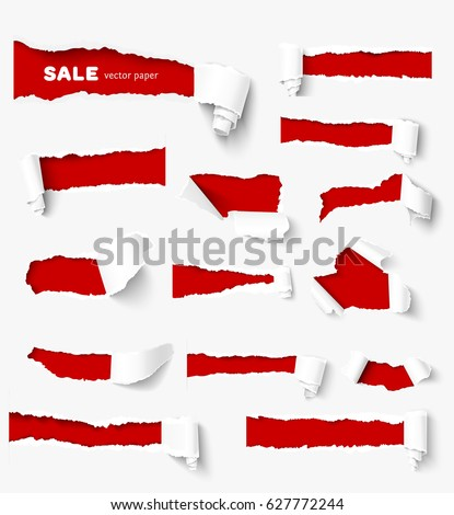 Set of holes in white paper with torn sides over red paper background with space for text. Realistic vector torn paper with ripped edges. Design elements for advertising and sale promotion.