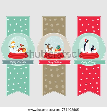 Set of holiday banners and bookmarks with snow balls and cute animals inside