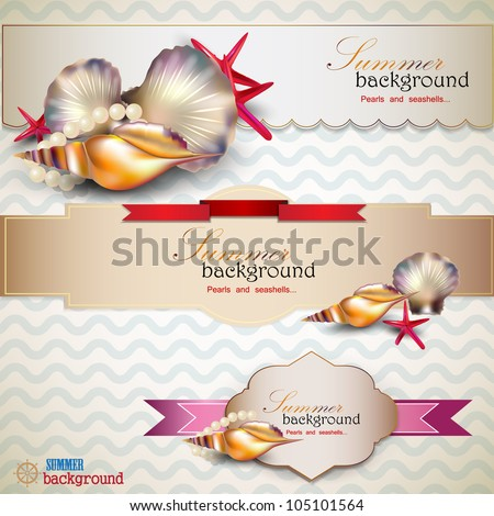 Set of Holiday banners with shells and place for text. Retro vintage style.