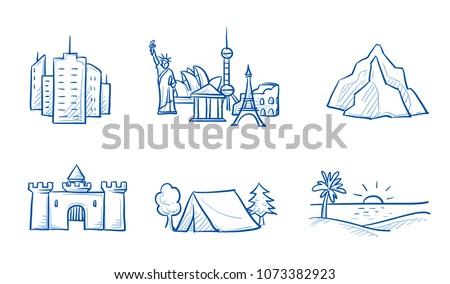 set of holiday destination