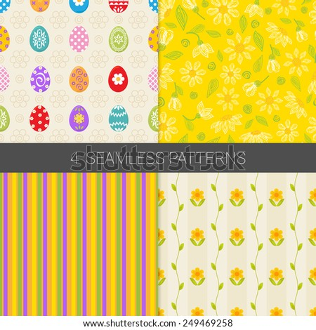 Set of Holiday Easter patterns with colorful Easter eggs, flowers and stripes in yellow, beige, orange, green and white. Perfect for decorating greetings, invitations, gift wrapping paper