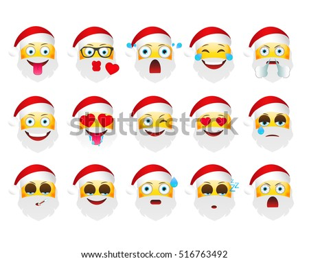 set of holiday emoticons santa