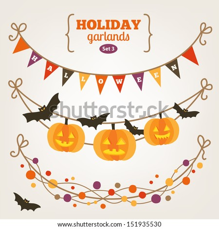 Set of holiday garlands - Halloween