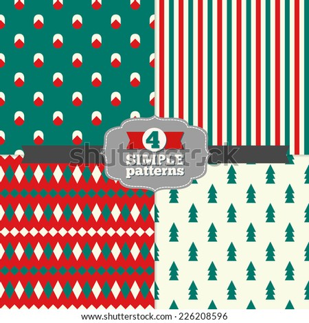 Set of Holiday Geometric Patterns with Fir Trees Stripes Rhombus and Christmas Balls in Emerald Green Red and White Perfect for wallpapers pattern fills web page backgrounds textile