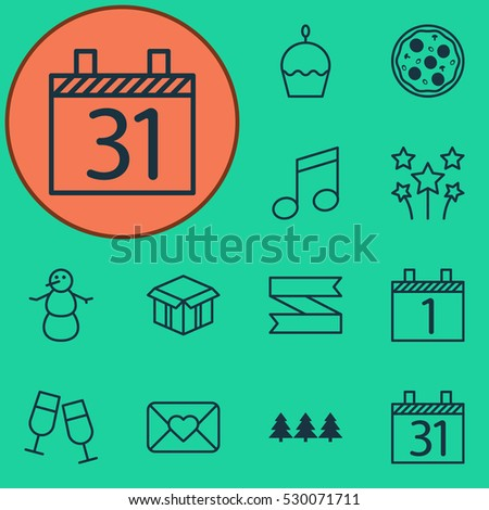 set of 12 holiday icons can be