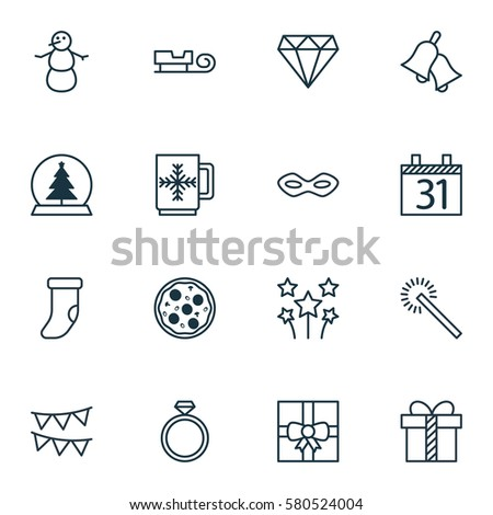 set of 16 holiday icons