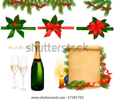 Set of holiday objects. Vector Illustration.