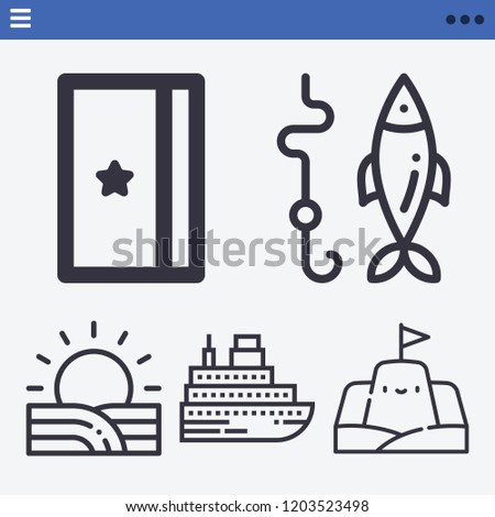 set of 5 holidays outline icons