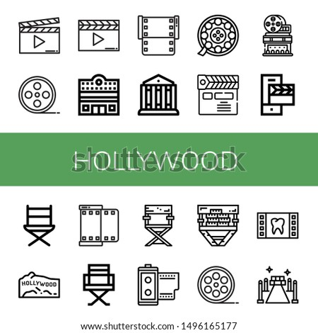 Set of hollywood icons such as Clapperboard, Film roll, Cinema, Film, Theatre, Movie theater, Directors chair, Hollywood, Director chair, Red carpet , hollywood
