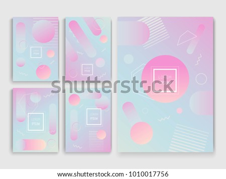Set of holographic backgrounds in memphis style. Vector illustration. Can be used for brochures, banners, postcards or other. #1010017756
