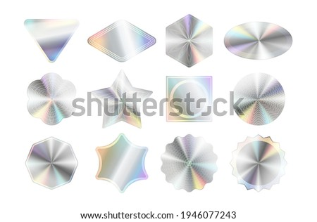 Set of holographic stickers mockups. Hologram labels of different geometric shapes. Holographic quality emblem template isolated on white background. Vector illustration