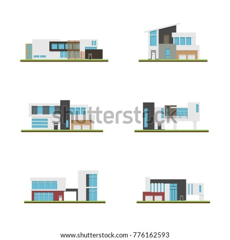 set of home and modern houses