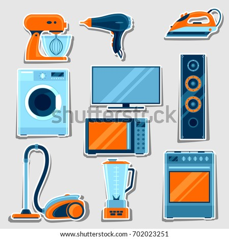 Set of home appliances. Household items for sale and shopping advertising design.