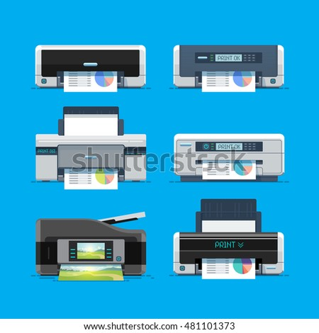 Set of home color Printers. Isolated Flat Vector Illustration