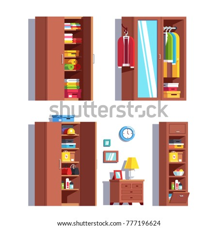 Set of home dressing room wardrobes. Wardrobe, mirror, dresser, nightstand, full closet with stacked & hanging clothes on hanger rack, jackets, woman bags, cardboard boxes. Flat vector illustration.