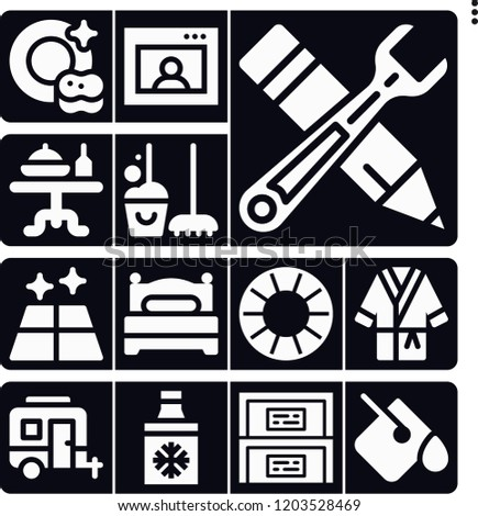 set of 13 home filled icons