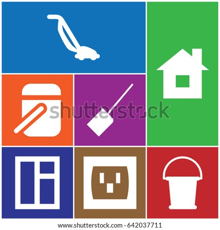 set of 7 home filled icons such