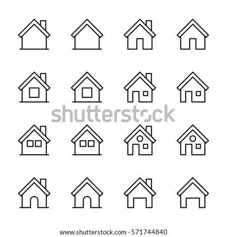 Set of home icons in modern thin line style. High quality black outline house symbols for web site design and mobile apps. Simple home pictograms on a white background.