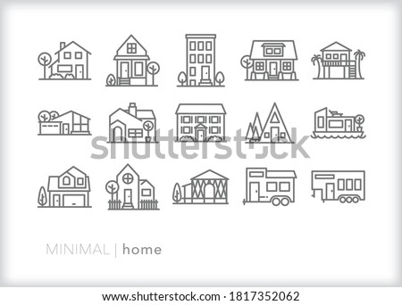 Set of home icons of different styles of houses