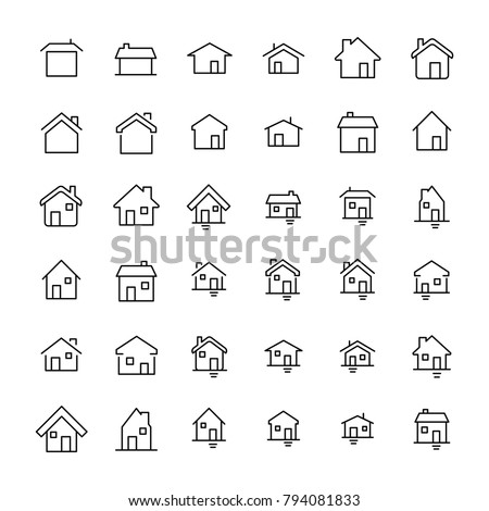Set of 36 home thin line icons. High quality pictograms of house. Modern outline style icons collection. Building, estate, cottage, structure, etc.