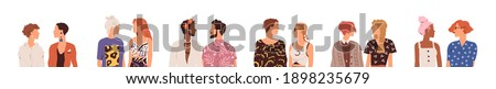 Set of homosexual and heterosexual parners. Collection of faceless couples. Young modern people talking and looking at each other. Colorful flat vector illustration isolated on white background Сток-фото ©