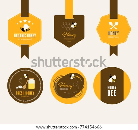 Set of honey and bee labels and banner vector design.