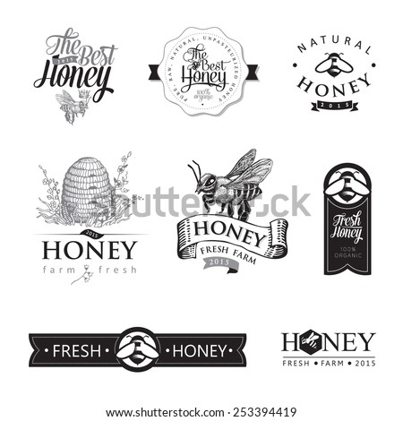 Set of honey and bee labels, graphic for honey logo products. Vector