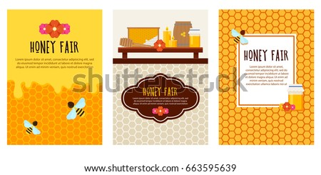 Set of honey flyers with beekeeping items. Modern flat style vector. Honey illustration. Apiary concept.