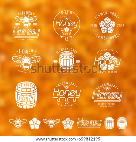 set of honey labels  badges and