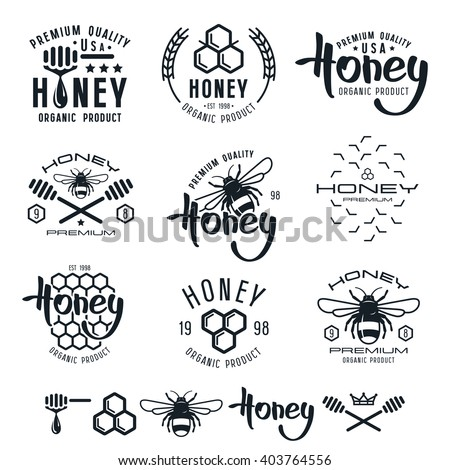 Set of honey labels, badges, logotypes and design elements. Black print on white background