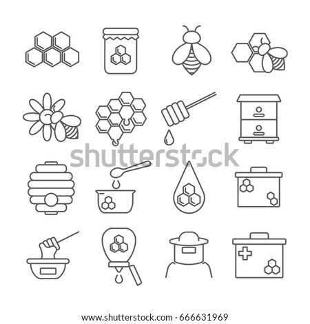 Set of honey Related Vector Line Icons. Contains such icon as bee, honeycomb, bee swarm, beekeeper, sweets, nectar