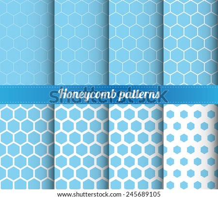 Set of 8 honeycomb patterns with various density vector