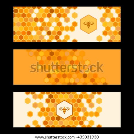 Set of honeycombs banners. Organic product background. Vector illustration.