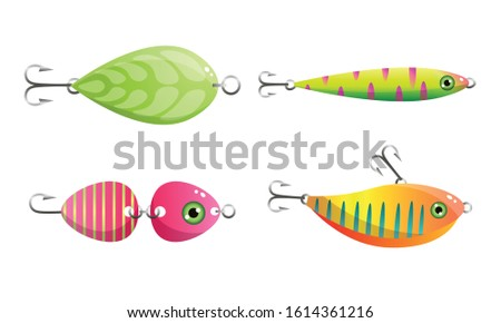 Set of hooked fishes and leaf at fishing vector illustration