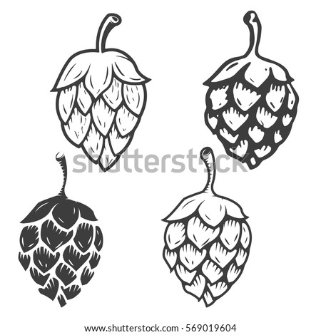 set of hop icons isolated on