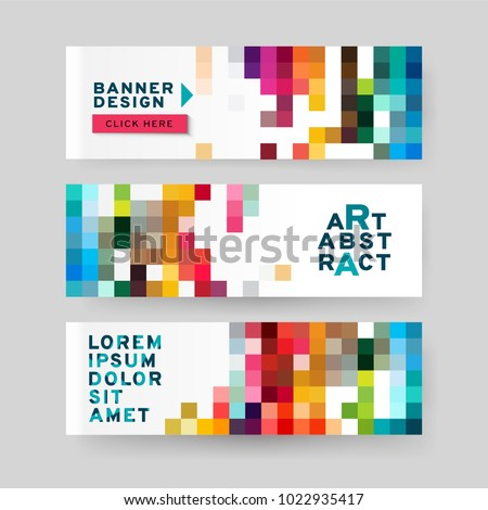 Set of horizontal Abstract Web banners  with text, buttons and transparent elements. Advertising business banner layout template.
