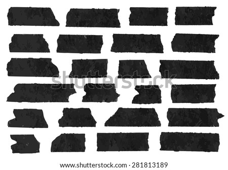 Set of horizontal and different size black sticky tape,adhesive pieces, torn paper on white background.  Can write text, alphabet letters and other symbols. Vector illustration