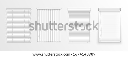 Set of horizontal and vertical blinds for window, element interior. Realistic closed window shutters, front view. Horizontal, vertical closed and open blinds for office rooms. Vector illustration