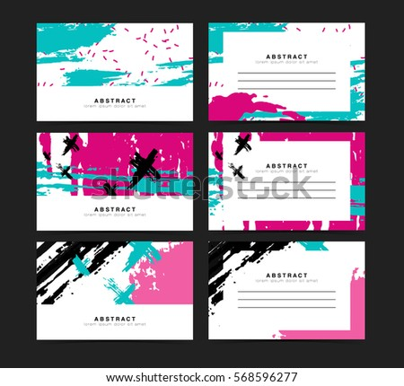 Set of horizontal artistic creative unusual cards. Hand Drawn textures. Collection voucher for wedding, birthday, party. Design for gift card, personalized invitation, brochure, flyer. Vector.