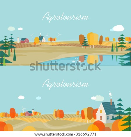 set of horizontal banners  agro