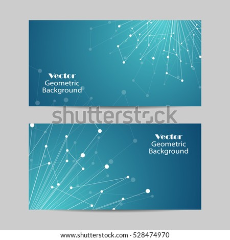Set of horizontal banners. Geometric pattern with connected lines and dots. Vector illustration on blue background.